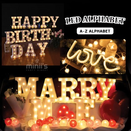 Miniis INS 3D LED Alphabet A-Z Light Sign for Birthday Party Decoration, Home Party, Wedding
