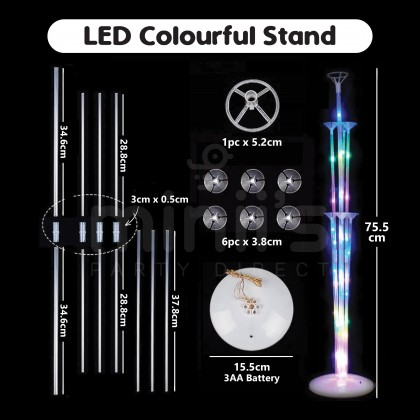 Miniis LED Light 7 In 1 Balloon Stand Colourful Warm White For Birthday Baby Shower Wedding Anniversary Party Decoration