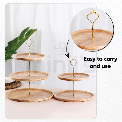 Miniis Natural Oak Wood 2 Tier 3 Tier Cake Stand Cupcake Dessert Serving Tray Display For Kitchen Birthday Party