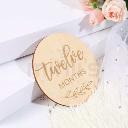 Miniis 14pcs Set Wooden Baby Monthly Milestone Cards For Newborn To 1 Year Baby Photo Props Baby Shower Gifts Pregnancy Photography
