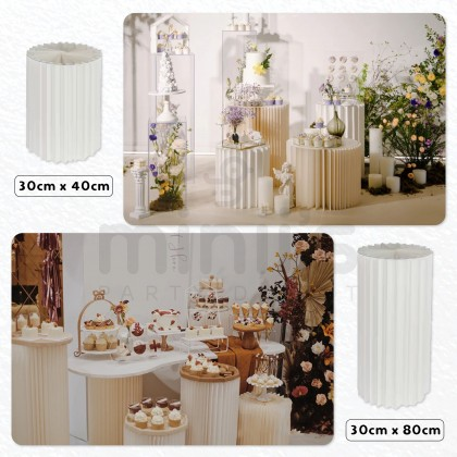 Miniis Folding Round Cylinder Dessert Paper Table For Baby Shower Birthday Party Shopping Window Display Decoration