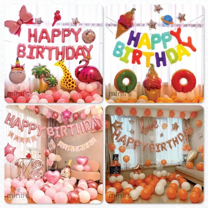 """Miniis 16 Inch Foil Letter Happy Birthday Balloons  for Party Decorations 16"""" 13 pcs  Alphabet Letters"""