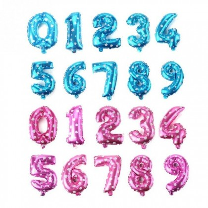 16 inch Number 0-9 Balloon Foil Balloons Pink Blue