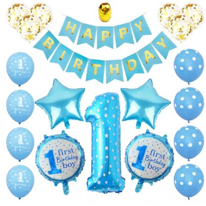 Baby Boy Baby Girl 1st Birthday balloons set pink Blue Number Foil Balloons Party Decorations