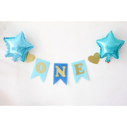Lansian ONE Banner High Chair Boy Blue Decorations for 1st Birthday Burlap Glitter Gold for First Birthday  BLUE/PINK