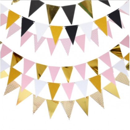INS Sparkly Paper Pennant Banner Triangle Flags, Stripes & Chevron  Metallic Pink Blue