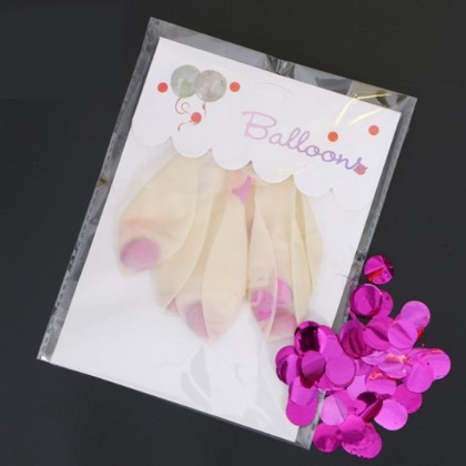 5 PCS 12 Inches Transparent Confetti Balloon LOVE / STAR/ ROUND Shape  GOLD/ SILVER/ ROSEGOLD