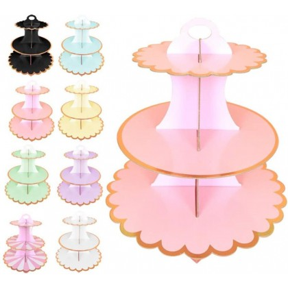 Minii's  3-layer Paper Cake Stand Disposable Candy Rack for Birthday Party Cake Stands