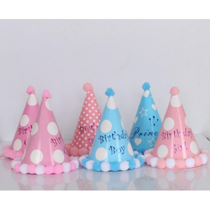 Miniis Happy Birthday Party Paper Cone Hat  with Pom Poms Birthday Paper Hats for Boys and Girls