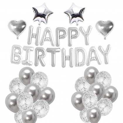 Miniis Silver Rose Gold Gold Simple  Birthday Balloon Set Party Dress Up Decoration Banquet