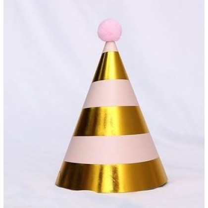 Miniis Plush Ball Sequins Gold Birthday Party  Paper Cone Hats Cuties for Boys and Girls Farewell Adult Party