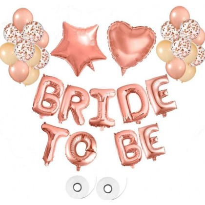 """Miniis16"""" BRIDE TO BE Balloons Banner, Rose Gold Balloons Foil Balloon for Wedding Bridal Shower Party Sister Suprise Decorations"""