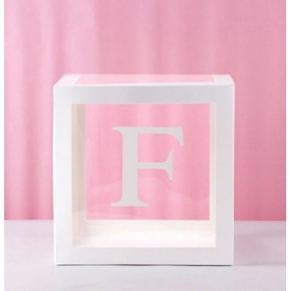 Miniis 30x30CM Custom DIY Transparent Balloon Boxes Party Decorations Blocks With Individual Letters A-Z & ❤ 0-9