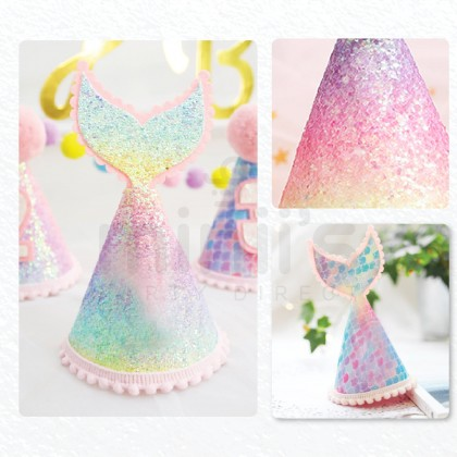 Miniis Mermaid Tail Cone Hat 1-5 Years Birthday Glitter Party Hat Birthday Baby Shower Under The Sea Theme Party Supplies