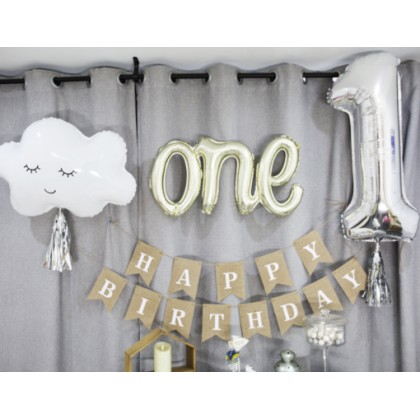 Miniis INS Style Rainbow Cloud Smile Face Foil Balloon for Birthday Baby Shower Party