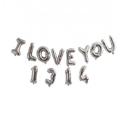 Miniis Happy Anniversary I Love You 1314 Silver Gold Rose Gold Letters Aluminum Foil Balloons 16 Inch Banner Balloons for Anniversary Party Decorations Supplies