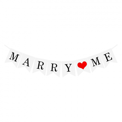 Miniis Marry Me Banner I Love You Banner White Color Hanging Signs for Valentine's Day or Wedding Proposal Decorations