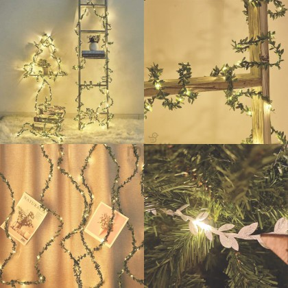 Miniis 2m 3m Artificial Leaf LED Garland LED Light For Birthday Wedding Party Christmas Holiday Patio Decoration Green Gold Silver Color