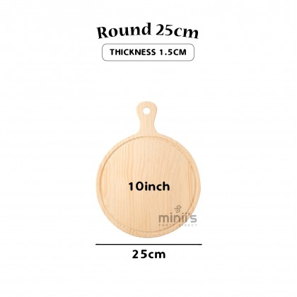 Miniis Solid Wood Pizza Tray Platte Paddle Handle Round Rectangle Bread Plate Wooden Cutting Non-Stick Board